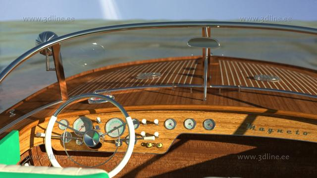 riva aquarama 3d model rendering dushboard