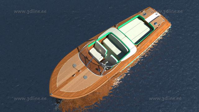 riva aquarama 3d model rendering top view