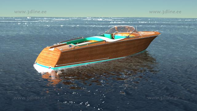 runabout riva aquarama 3d model rendering