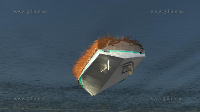 riva aquarama 3d model rendering bottom view under water line